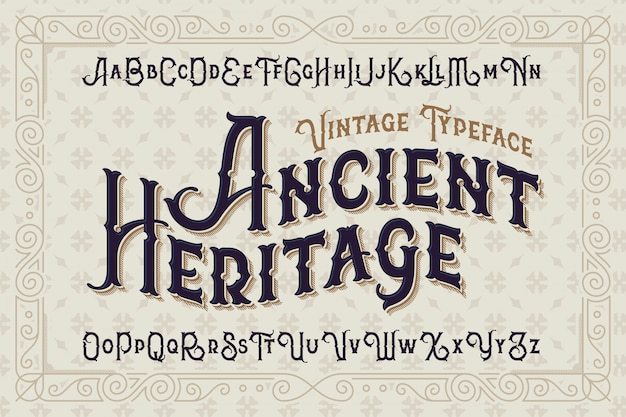 Fonte de estilo vintage com ornamento clássico