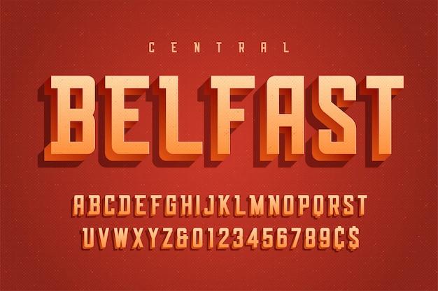 Fonte de exibição 3d retrô de vetor, alfabeto, tipo de letra, letras