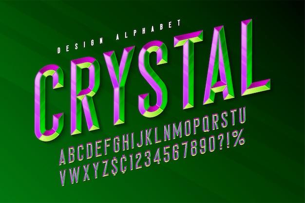 Fonte de exibição de cristal com facetas, alfabeto, letras e números.