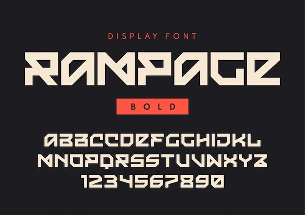 Fonte de exibição em negrito moderna chamada rampage, tipo de letra em bloco