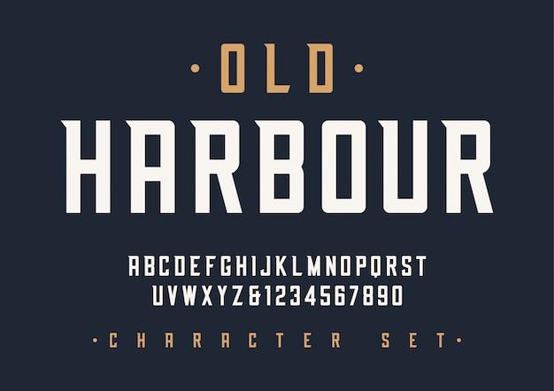 Fonte de exibição retrô condensada, alfabeto, personagem