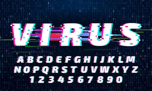 Fonte de falha. letras e números com ruído digital. composto de alfabeto distorcido com falhas no sinal de tv. letras em latim ou inglês em estilo futurista. ilustração em vetor tipográfico abc moderno