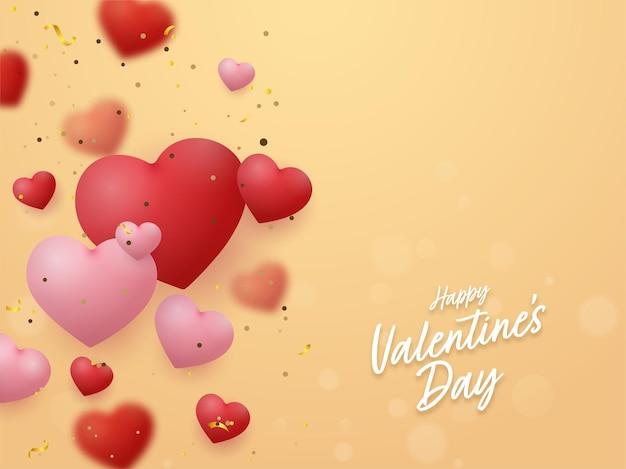 Fonte de feliz dia dos namorados com corações brilhantes decorados em fundo amarelo.