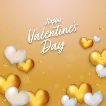 Fonte de feliz dia dos namorados com corações brilhantes e confetes decorados em fundo dourado.