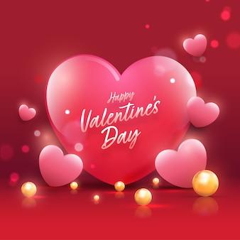 Fonte de feliz dia dos namorados com corações brilhantes e pérolas douradas decoradas em fundo vermelho bokeh.