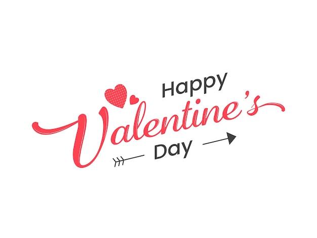 Fonte de feliz dia dos namorados com corações vermelhos em fundo branco.