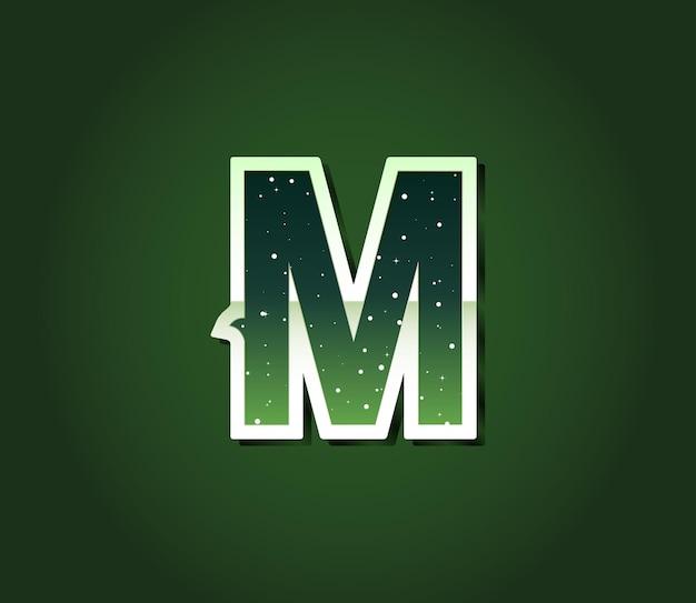 Fonte de ficção científica retrô verde dos anos 80 com estrelas dentro de letras. vetor do alfabeto