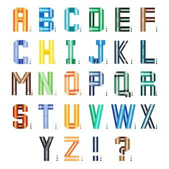 Fonte de fitas infográfico. letras do alfabeto de estilo multicolor isoladas no fundo branco.