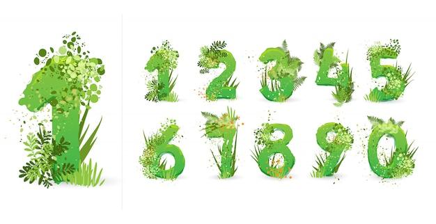 Fonte de folhas verdes. alfabeto elegante eco de folhas tropicais coloridas, arbustos, flores e elementos da natureza. egologia e fonte natural, verão e letras tropicais isoladas no branco