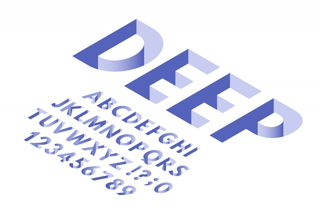 Fonte de furo isométrico. letras do alfabeto de tipografia de buracos profundos, números de fontes 3d e letras na moda vector conjunto de símbolos