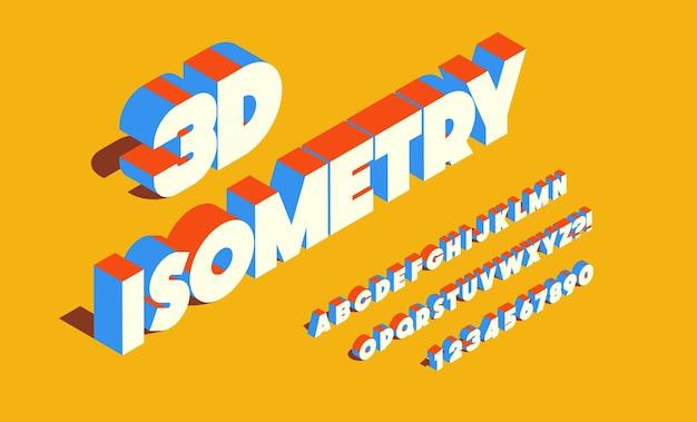 Fonte de isometria 3d, estilo negrito. alfabeto e números modernos