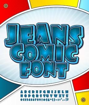 Fonte de jeans dos desenhos animados