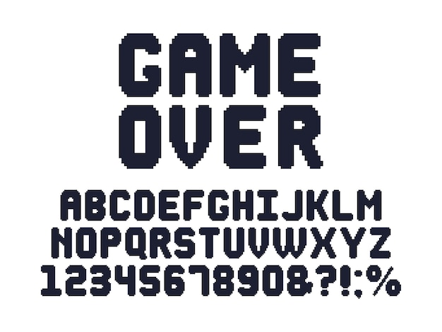 Fonte de jogo de computador de 8 bits. alfabeto de pixel de jogos de vídeo retrô, tipografia de jogos dos anos 80 e conjunto de letras de pixels
