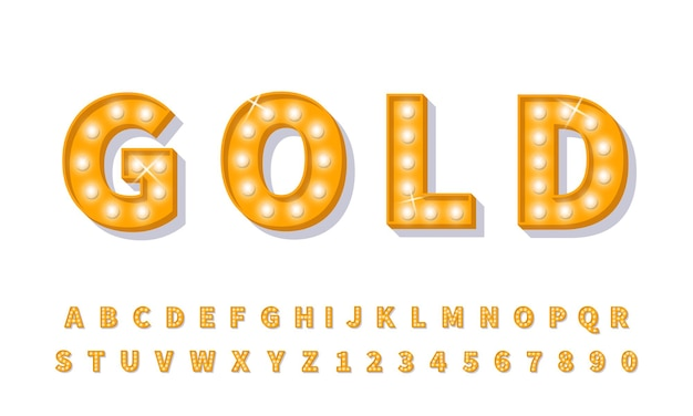 Fonte de lâmpada 3d ouro. tipo de letra do alfabeto de estilo retro.