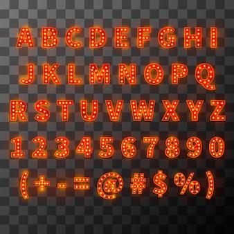 Fonte de lâmpada de iluminação, alfabeto brilhante em estilo cabaré