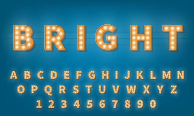 Fonte de lâmpada retrô. alfabeto de tipografia retro 3d estilo vintage