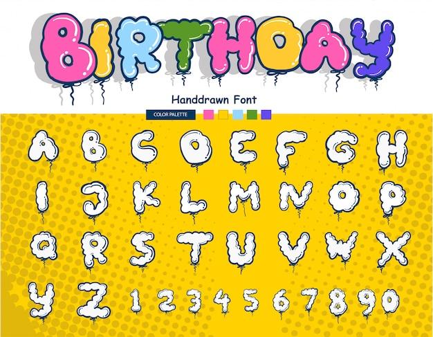 Fonte de letras de aniversário handdrawn