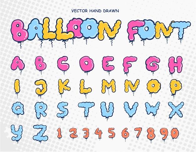 Fonte de letras de balão de handdrawn
