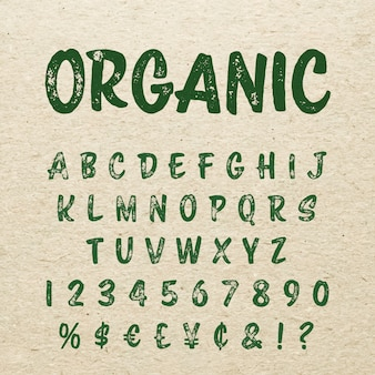 Fonte de letras de script escova orgânica. alfabeto caligráfico manuscrita.