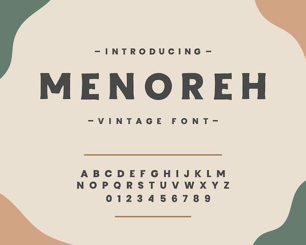 Fonte de letras do alfabeto vintage e vetor de número