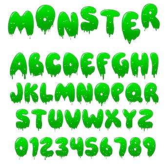 Fonte de limo verde. alfabeto com gotas de fluxo e respingos de gosma
