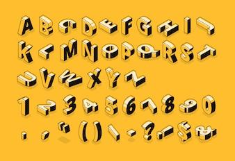 Fonte de linha isométrica e letras do alfabeto de meio-tom