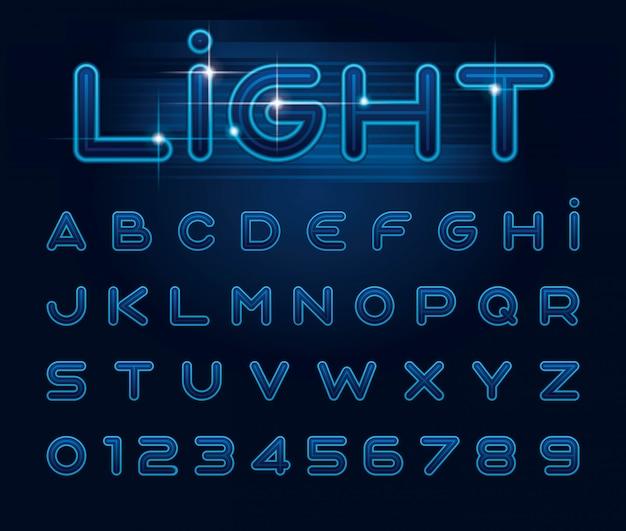 Fonte de luz estilizada e alfabeto