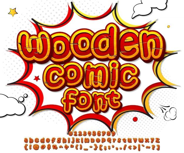 Fonte de madeira em quadrinhos no estilo pop art