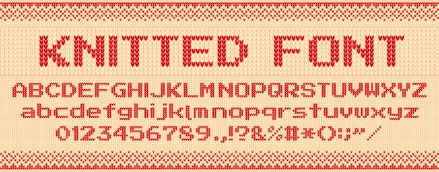 Fonte de malha. camisola feia de natal, cartas de malha e blusas folclóricas xmas texto modelo ilustração conjunto