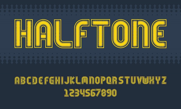 Fonte de meio-tom design letras e números alfabeto