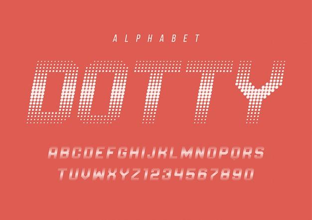 Fonte de meio-tom dotty com alfabeto, letras