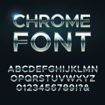 Fonte de metal cromado, letras do alfabeto metálico aço