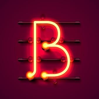 Fonte de néon letra b, quadro indicador de design de arte. ilustração vetorial