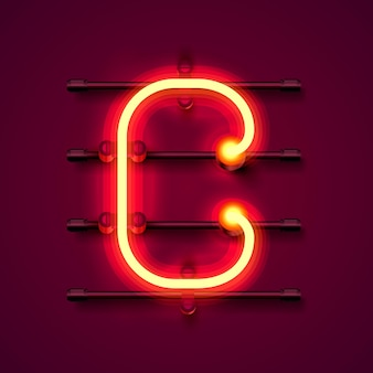Fonte de néon letra c, quadro indicador de design de arte. ilustração vetorial
