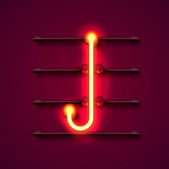 Fonte de néon letra j, quadro indicador de design de arte. ilustração vetorial