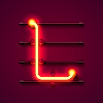 Fonte de néon letra l, quadro indicador de design de arte. ilustração vetorial