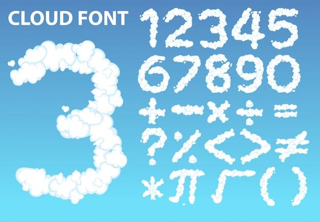Fonte de número de nuvem e ícone de matemática