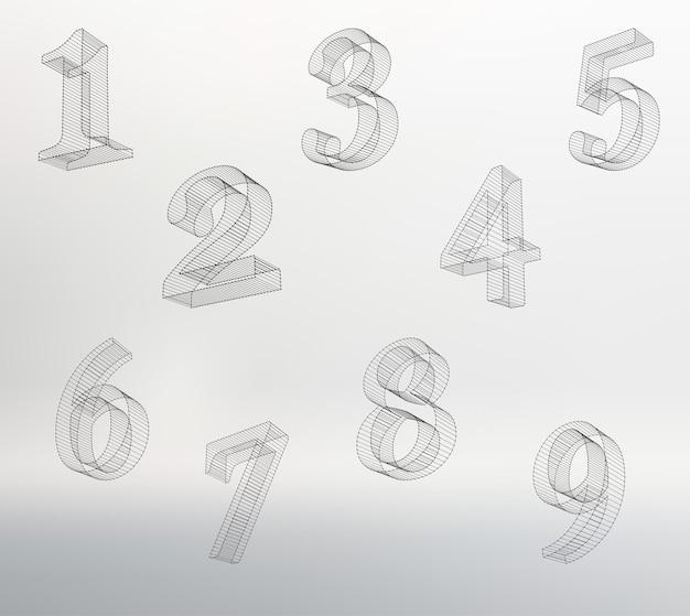 Fonte de números vetoriais de baixo poli (com fio). defina o alfabeto numérico do polígono. ilustração vetorial.
