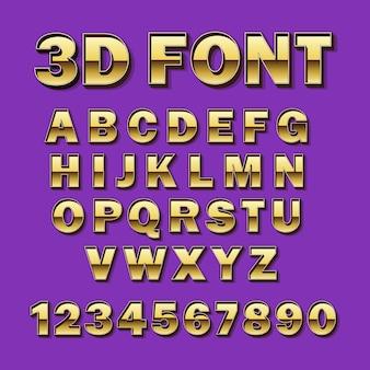 Fonte de ouro do vetor. tipografia dourada. alfabeto e números.