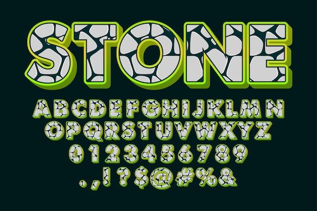 Fonte de pedra, alfabeto de desenho animado com padrão de pedra