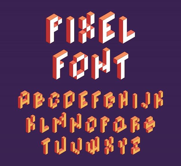 Fonte de pixel. jogo retro do alfabeto de blocos em fonte isométrica de letras cúbicas do estilo retro dos anos 90