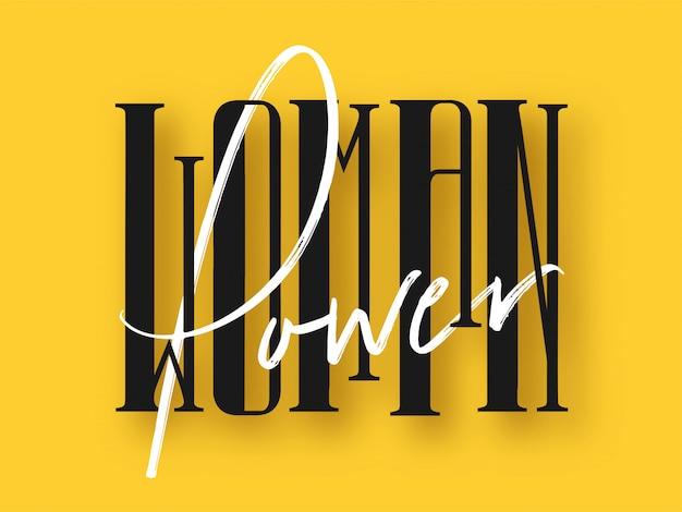 Fonte de poder de mulher preto e branco sobre fundo amarelo.