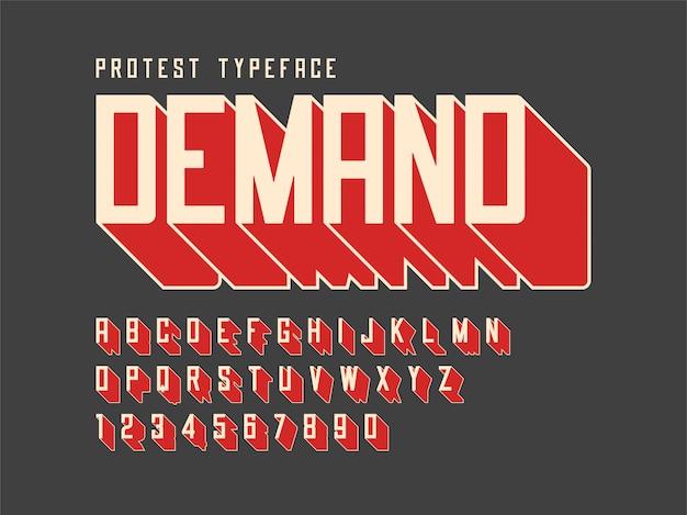 Fonte de protesto com alfabeto, conjunto de caracteres, letras um
