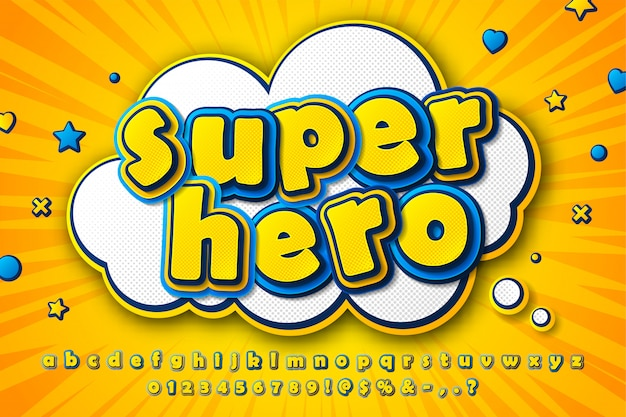 Fonte de quadrinhos, alfabeto de desenho animado infantil de letras amarelo-azul