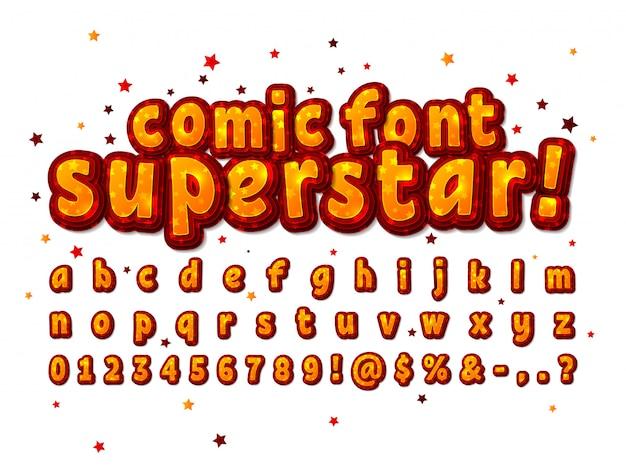Fonte de quadrinhos. alfabeto dos desenhos animados no estilo pop art
