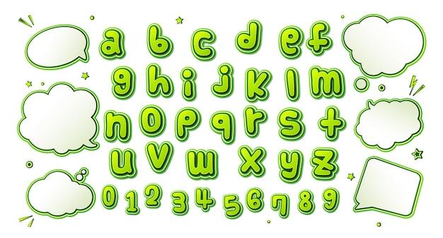 Fonte de quadrinhos, alfabeto verde no estilo da pop art e conjunto de bolhas do discurso