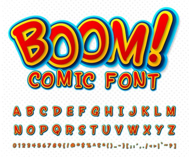 Fonte de quadrinhos criativa. alfabeto de vetor no estilo pop art