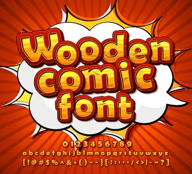 Fonte de quadrinhos de madeira, alfabeto em estilo pop art
