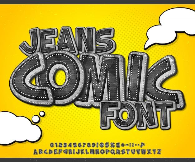Fonte de quadrinhos jeans em estilo pop art
