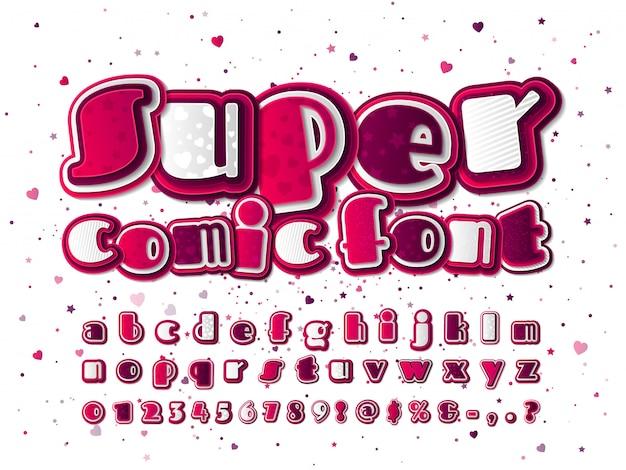 Fonte de quadrinhos rosa e branco. alfabeto de desenho animado com padrões de estrelas e corações